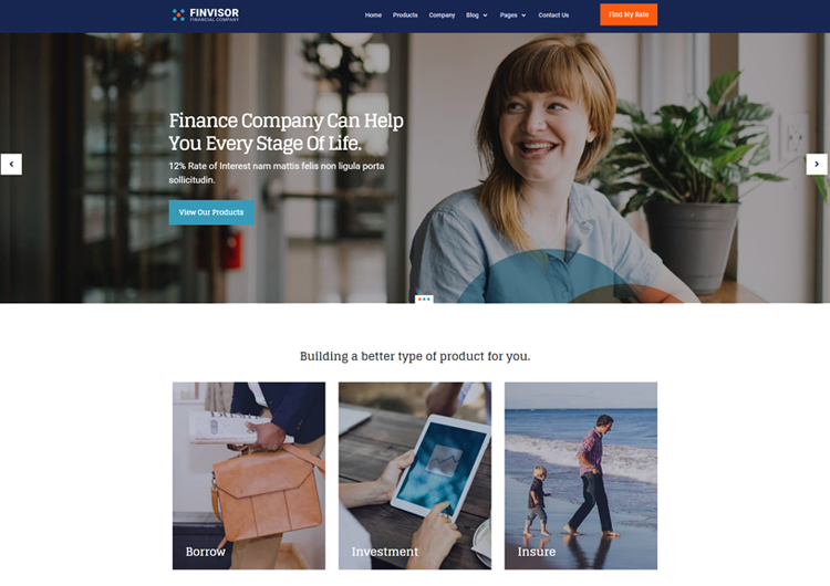 Innovative design for finance advisor website template